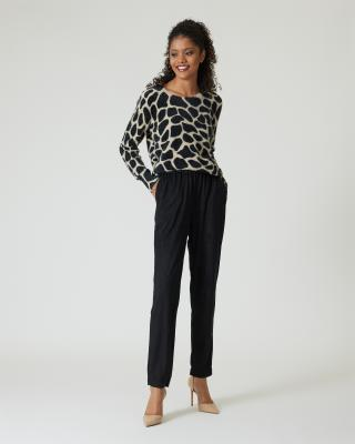 Pullover mit Kontrast-Animaldruck