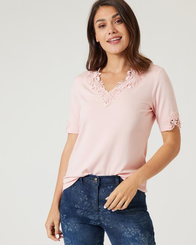 Shirt mit Spitzenbesatz