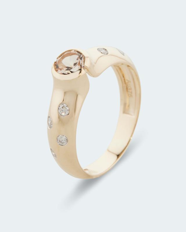 Ring mit Morganit & Brillanten ca. 0,50 ct