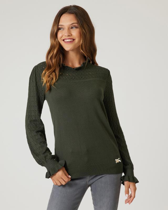 Ajour-Pullover mit Rüschen