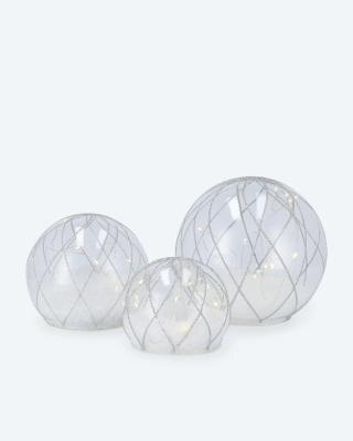 Glaskugeln mit Schnee-Effekt 3er-Set