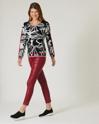 Jacquard-Pullover mit Druckmix