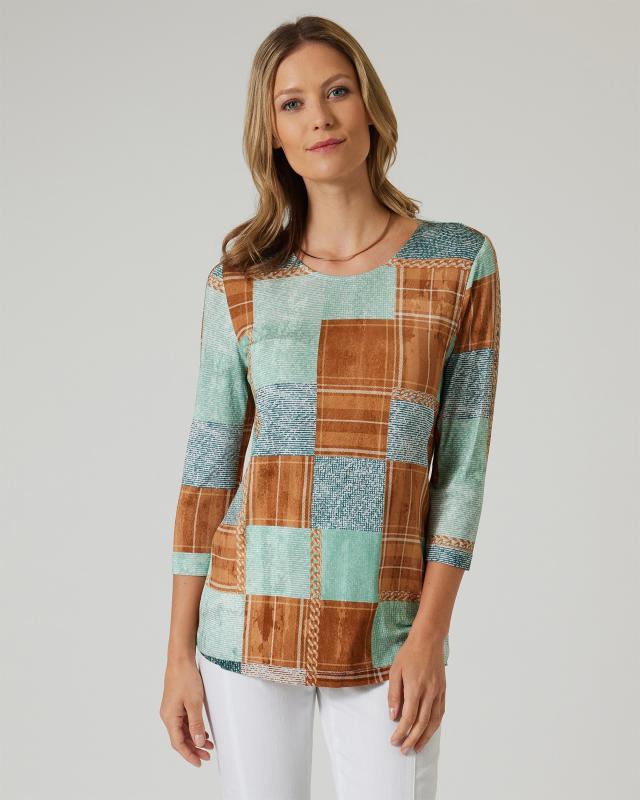 Helena Vera Shirt mit Karo-Struktur-Druck