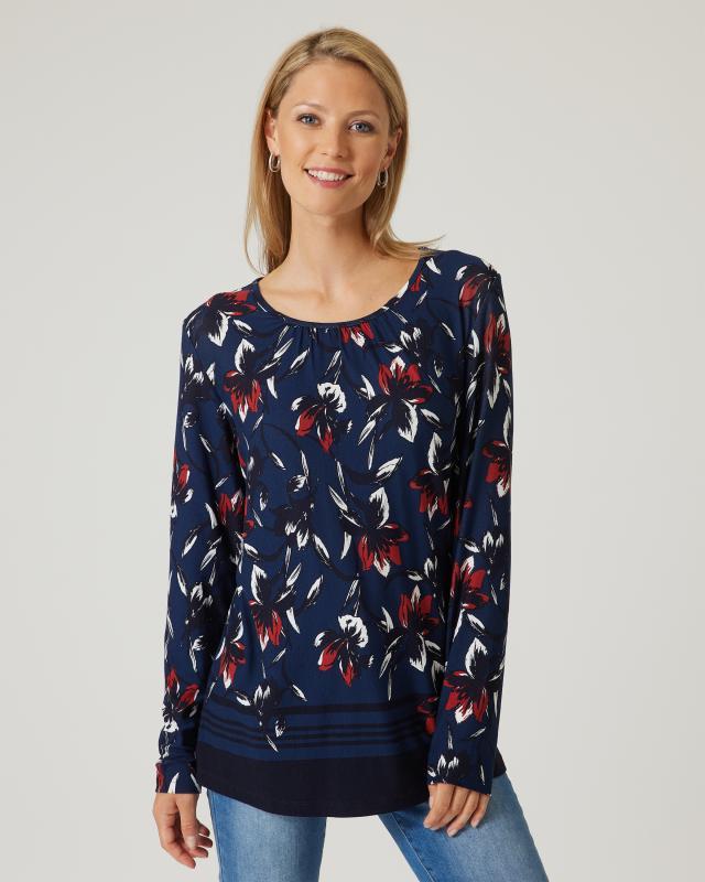 Shirt Blumen- & Bortedruck