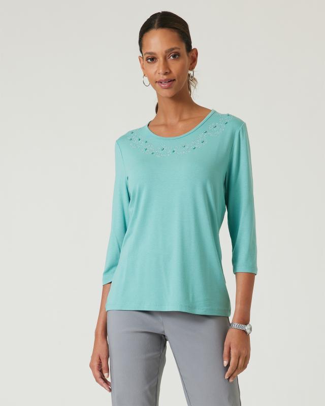 Shirt, tonale Strass/Perlen-Verzierung