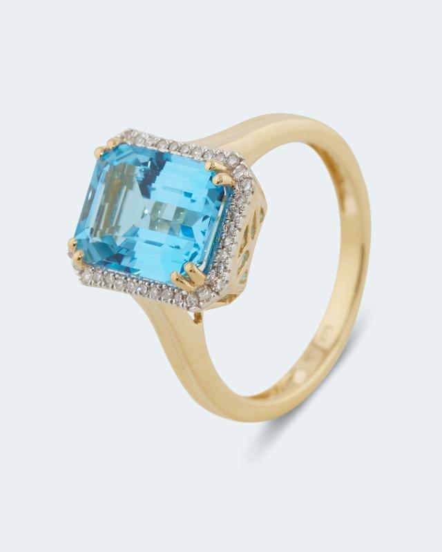 Ring mit Blautopas und Diamanten
