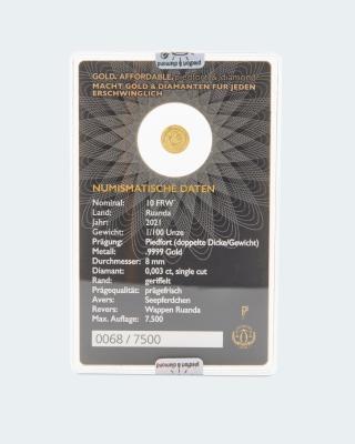 Goldmünze Piedfort Diamond Seepferd