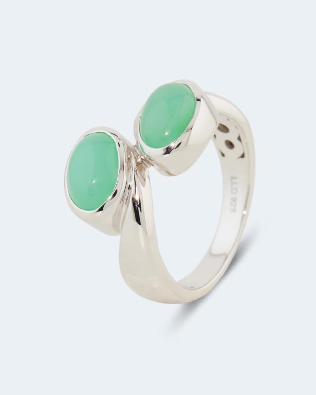 Ring mit Chrysopras, Kyanit oder Mondstein